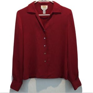 Talbots Red 100% PURE SILK Long Sleeve Blouse Top